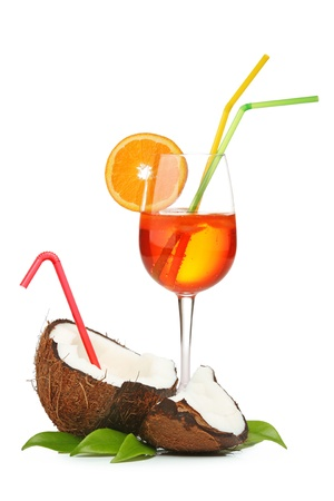 coctail: Coconut and orange coctail isolated on white