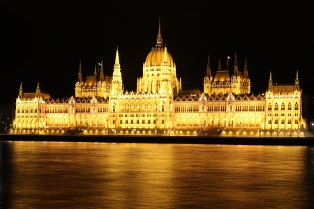 Hungarian parliament at night, Budapest photo