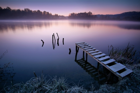 Misty lake in early morning Stock Photo