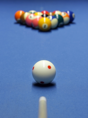 Blue billiard table with white and all the other  balls Stock Photo - 16016568