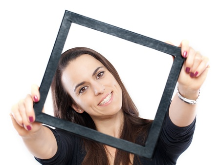 Woman with a frame around her face isolated on white Stock Photo - 15985403