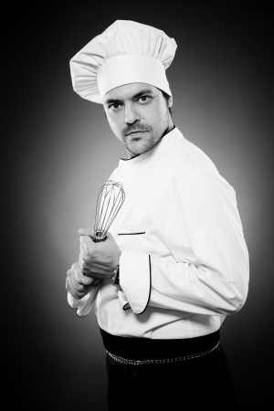Funny chef with whisk photo