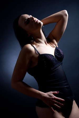 Seductive woman in black lingerie Stock Photo - 15985416