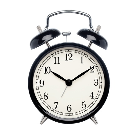 alarm clock: Black alarm clock isolated on white Stock Photo