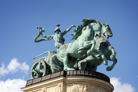 Horse statue on Heroes square in Budapest, Hungary  Stock Photo - 18066341