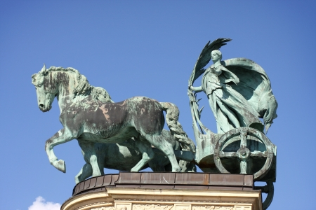 chariot: Horse statue on Heroes square in Budapest, Hungary  Stock Photo