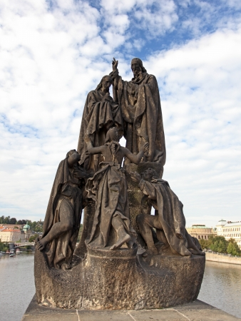 Statue of Saints Cyril and Methodius on Charles Bridge in Prague Stock Photo - 18094751
