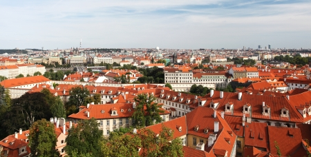 Tiled Roofs Of Old Houses. Prague, Czech Republic Stock Photo - 18095623