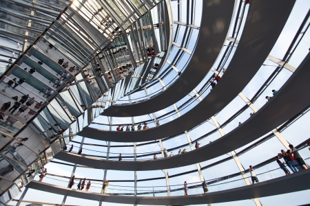 BERLIN, GERMANY - AUGUST 20: People visit the Reichstag dome at the German parliament August 20, 2012 in Berlin, Germany