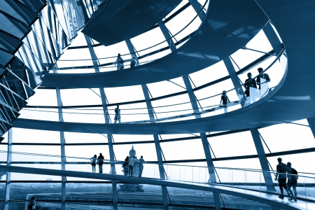BERLIN, GERMANY - AUGUST 20: People visit the Reichstag dome at the German parliament August 20, 2012 in Berlin, Germany Stock Photo - 18080344