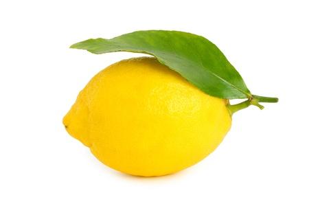 Fresh lemon with green leaf isolated on white Stock Photo - 18133437