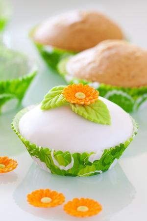 Beautiful  cupcake with spring decoaration photo
