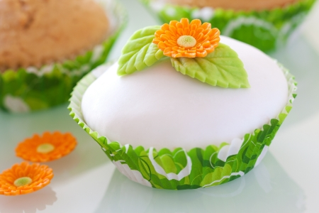Beautiful  cupcake decorated with flower and leaves Stock Photo - 18179653