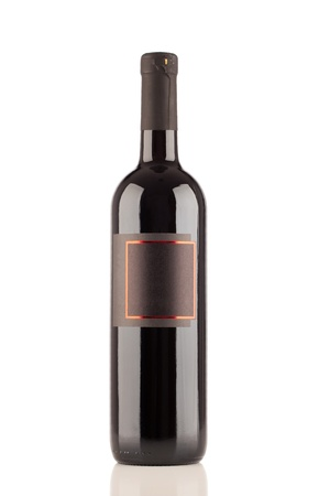Black wine bottle isolated on white Stock Photo - 19843408