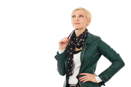 average woman: Ordinary young woman  in casual outfit thinking about something Stock Photo