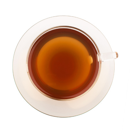 Top view of tea in glass cup photo