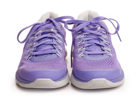 Fioletowy kobiece buty sportowe pojedyncze na białym