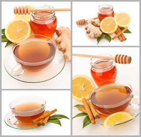 inmunidad: Collage de té caliente con canela, miel y jengibre