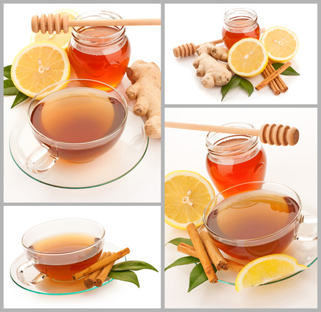 Collage of hot tea with cinnamon, honey and ginger photo