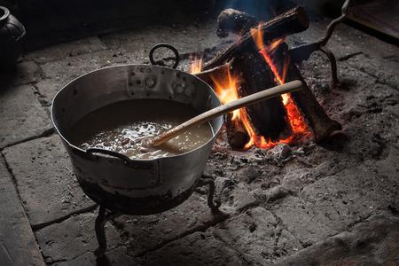 slovenian: Open fireplace in traditional slovenian black kitchen