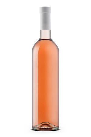 Rose wine bottle  isolated on white