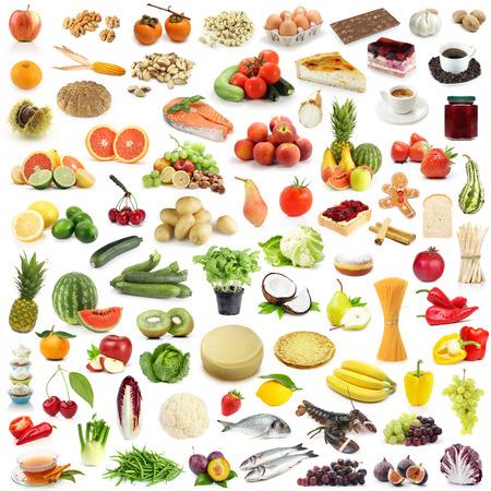 frutos secos: Gran recogida de alimentos aislado en blanco
