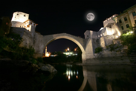 Mostar bridge at night, Mostar, Bosnia and Herzegovina photo