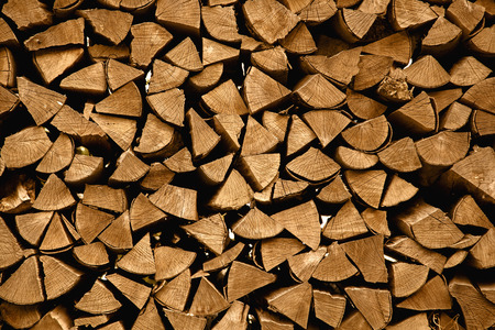 outdoor fireplace: Firewood stack for winter time Stock Photo