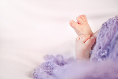 Little feet of a newborn baby girl with copy space