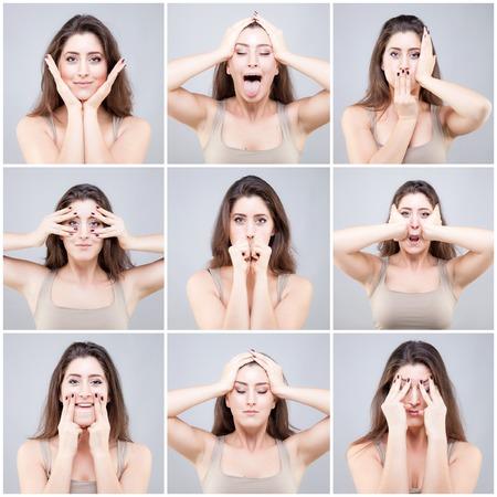 Schöne junge kaukasische Frau, die Gesicht Yoga-Pose Standard-Bild