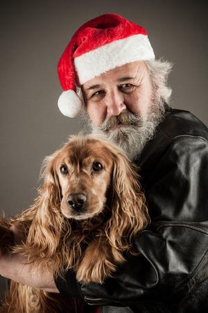ass christmas: Santa Claus  with  dog  cocker Spaniel