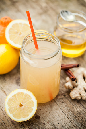 cinammon: Healthy drink with lemon, cinammon, ginger and honey to prevent cold