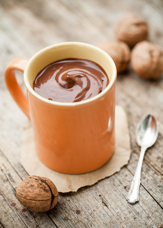 hot chocolate drink: Healthy thick cocoa drink made of coconut milk