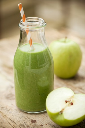 Green smoothie with vegetable and green apple Stock Photo