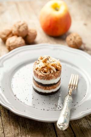 slovenian: Modern version of traditional slovenian dessert Prekmurska gibanica Stock Photo