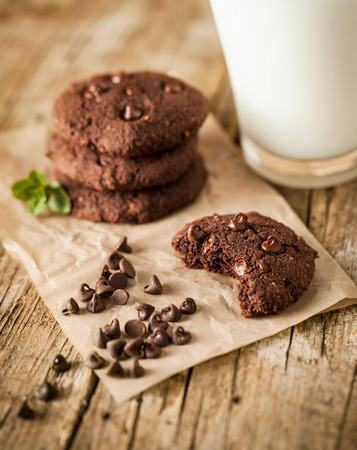 Double chocolate chip cookies with mint and coconut milk