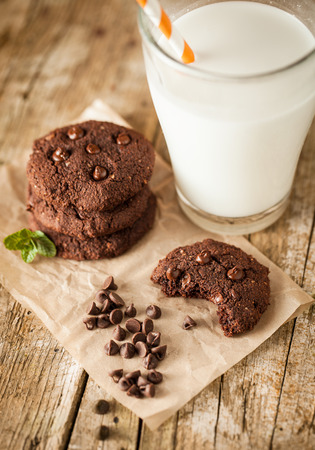 milk and cookies: Double chocolate chip cookies with mint and coconut milk