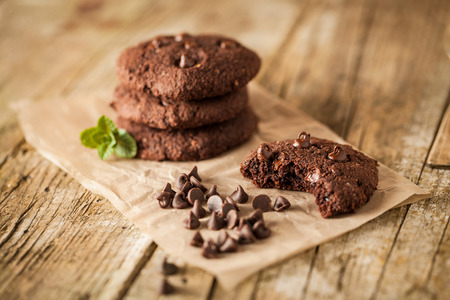 Double chocolate chip cookies with mint