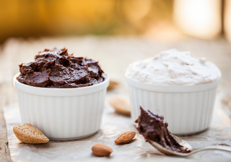 mousse: Cocoa avocado mousse and banana coconut cream - vegan dessert Stock Photo