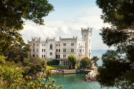 italy background: Back view of Miramare castle, Trieste, Italy
