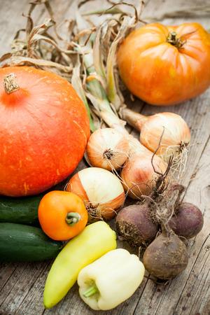 home grown: Home grown heatlhy vegetables on wooden board