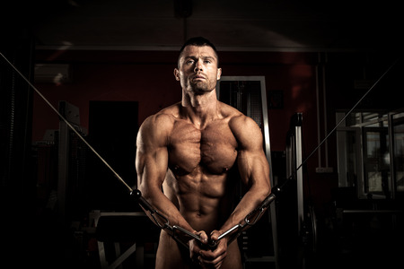 lifter: Strong muscular body builder  in the gym