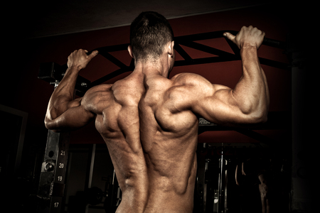 lifter: Strong bodybuilder in the gym doing pull ups Stock Photo