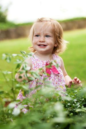 乳幼児: ピンクのドレスの笑顔で少し幼児の女の子 写真素材