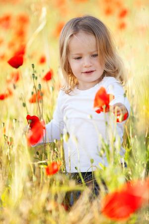 乳幼児: ケシ畑の少女 写真素材