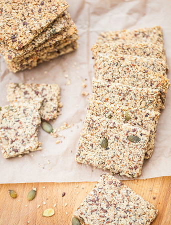 carb: Ketogenic low carb crackers alternative to bread