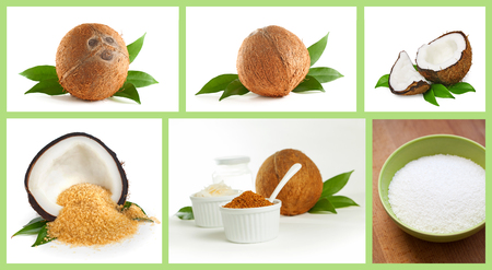 coconut sugar: Coconut and coconut products isolated on white