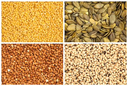 kasha: Buckwheat, millet, pumpkin seed and black eyed beans Stock Photo