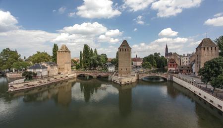 petite: Bridge over the river Ill in Strasbourg Stock Photo