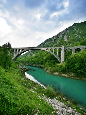 largest: Solkan Bridge is World largest stone bridge Stock Photo